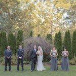 groomsmen and bridesmaids in the garden