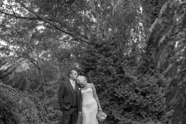 bride and groom in Marybrooke gardens