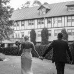 bride and groom at Marybrooke holding hands